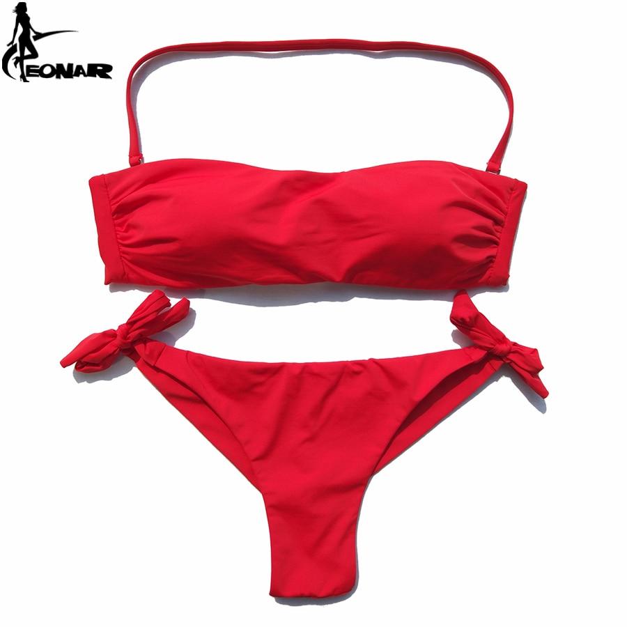 EONAR Bikini 2019 Solid Women Swimsuit  Brazilian Cut Bottom Bikini Set Push Up Swimwear Femme Bathing Suits Sport Beach Wear 4