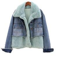 Winter Removable Rabbit Fur Denim Jacket Women Coat Warm Parka Women Thick Jean Jacket Women Warm Windbreaker Basic Coat Female