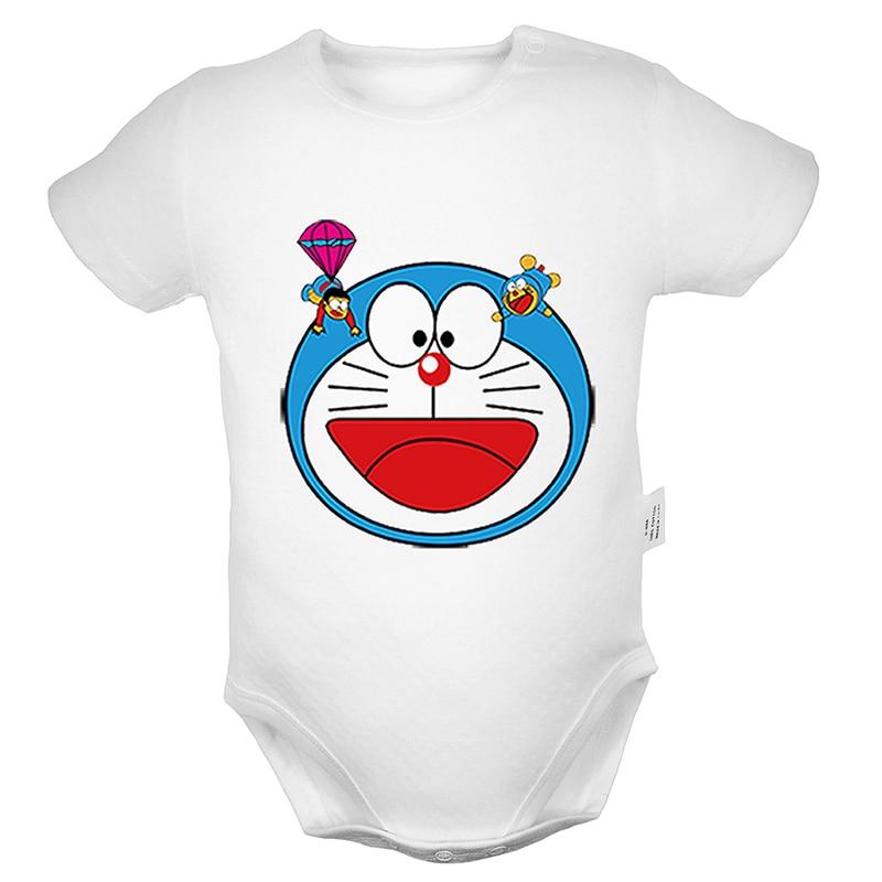 Japan Cartoon Doraemon Nobita Nobi Printed 6-24M Newborn Baby Girl Boys Clothes Short Sleeve Romper Jumpsuit Outfits 100% Cotton