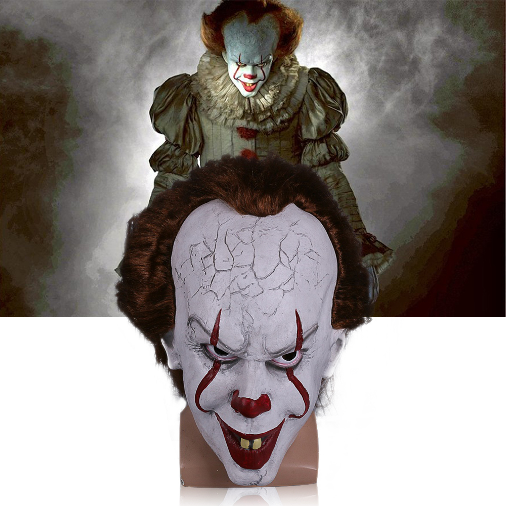 2017 Movie Stephen King's It mask Joker Mask Tim Curry Horrible Mask Cosplay Halloween Party (2)