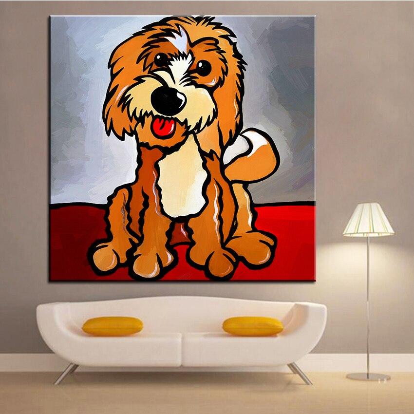 Velkoformátový tisk Olejomalba Cockapoo Nástěnná malba POP Art Nástěnná malba Obrázek pro malování v obývacím pokoji Bez rámečku
