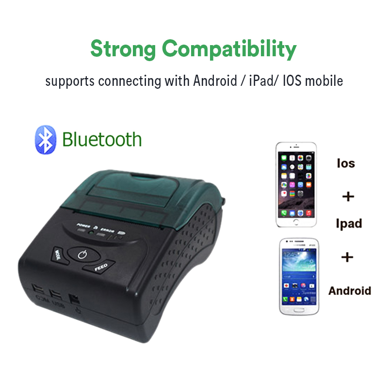 ZJiang 58MM Bluetooth Ticket Thermal Printer ZJ-5807DD Portable Wireless receipt /pos / bill printer for Windows Android iOS
