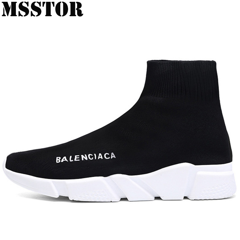 MSSTOR Spring 2018 Socks Women Running Shoes Brand Fly line Fabric Lovers Sport Shoes For Men Outdoor Athletic Women's Sneakers