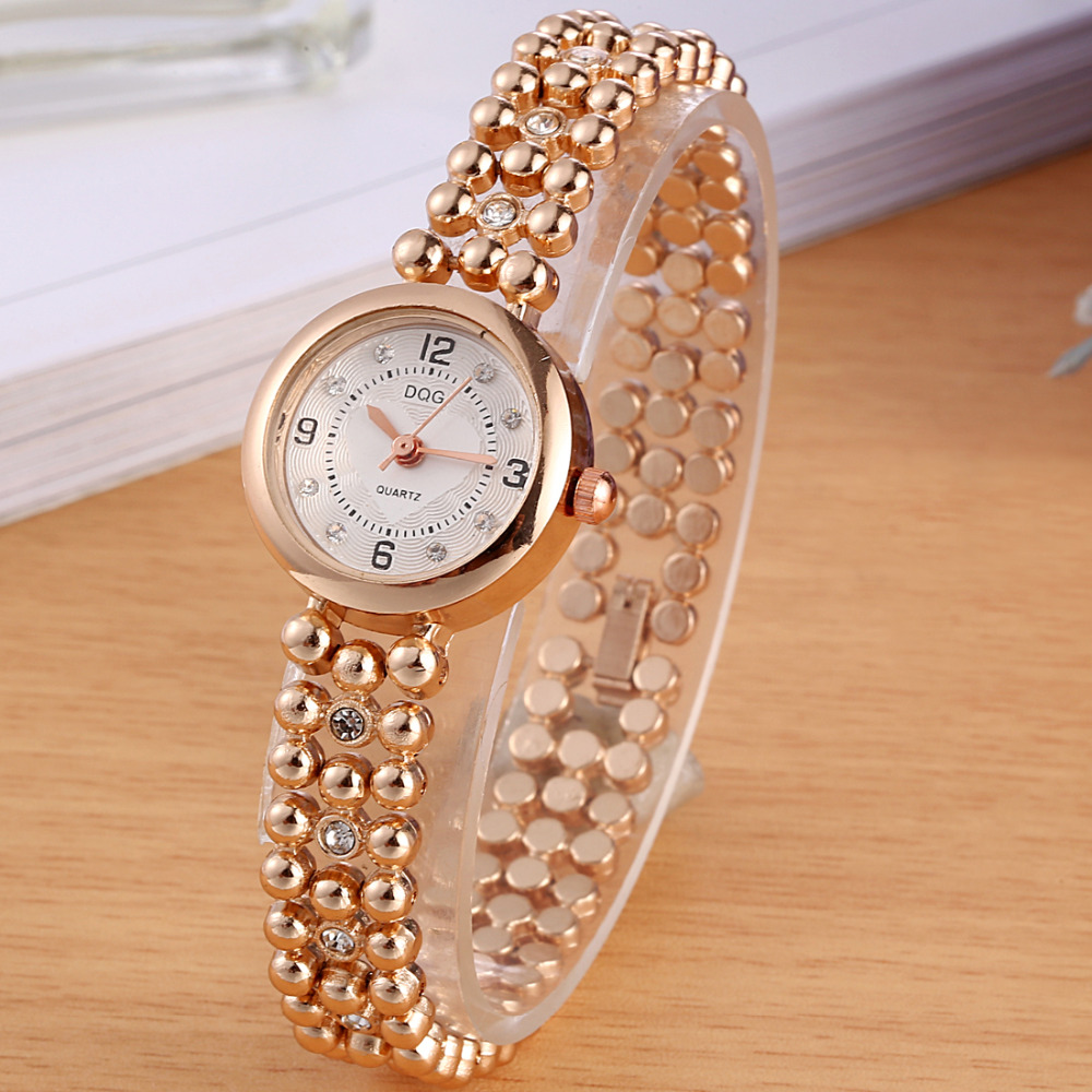 New Women's Watches Luxury Brand DQG Crystal Beads Bracelet Ladies Wrist Watch Women Dress Rosy Gold Quartz Watches Hot Clock new luxury brand dqg crystal rosy gold casual quartz watch women stainless steel dress watches relogio feminino clock hot sale