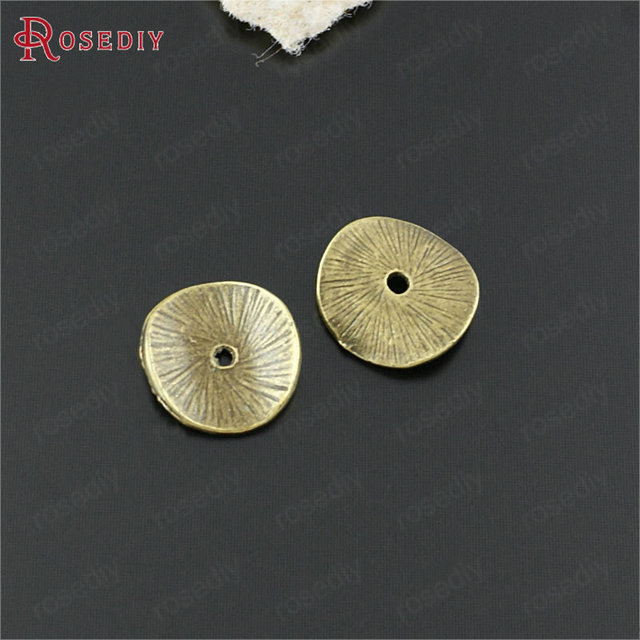 (20543)50PCS 15x14MM Gold Color Zinc Alloy Round Curved Brushed Disks Spacer Beads Diy Jewelry Findings Accessories Wholesale 3