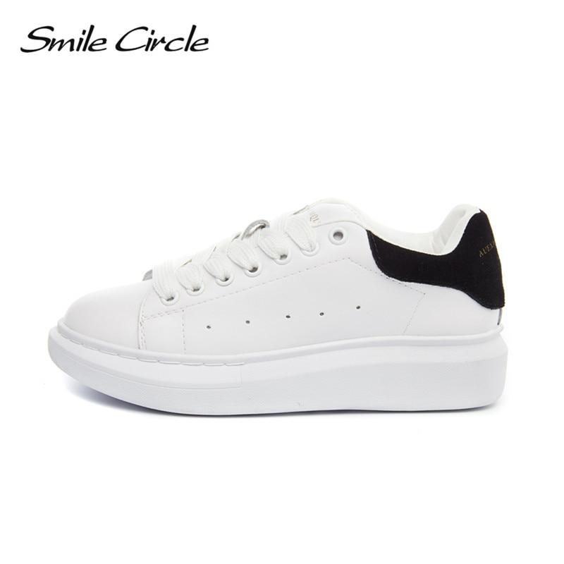 Улыбка круг большой размер 35-43 весна осень Натуральная кожа женщины кроссовки Белый обувь мода кружева-up туфли на платформе для женщин