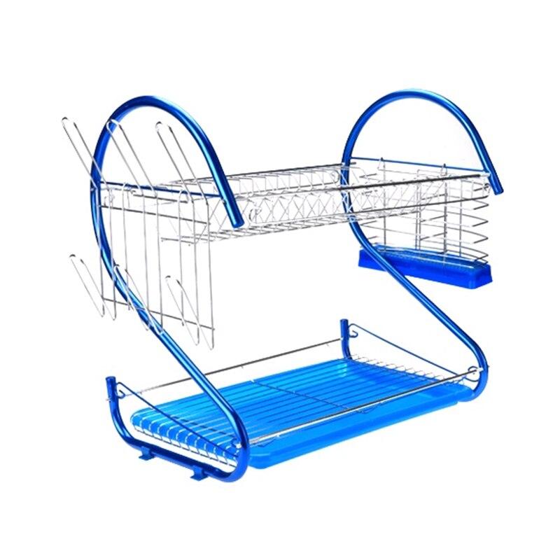 SDFC <font><b>2</b></font> <font><b>Tiers</b></font> <font><b>Kitchen</b></font> <font><b>Dish</b></font> <font><b>Cup</b></font> <font><b>Drying</b></font> Rack Drainer Ship From USA (Color: blue)