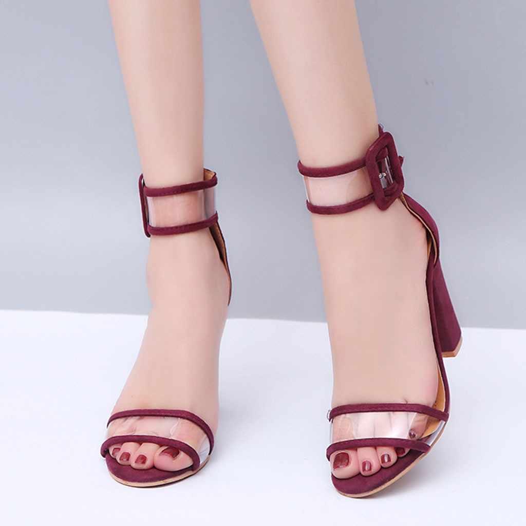 032f859c220b8 Women's Sandals Transparent Buckle Solid Color Snake Print Sandals ...