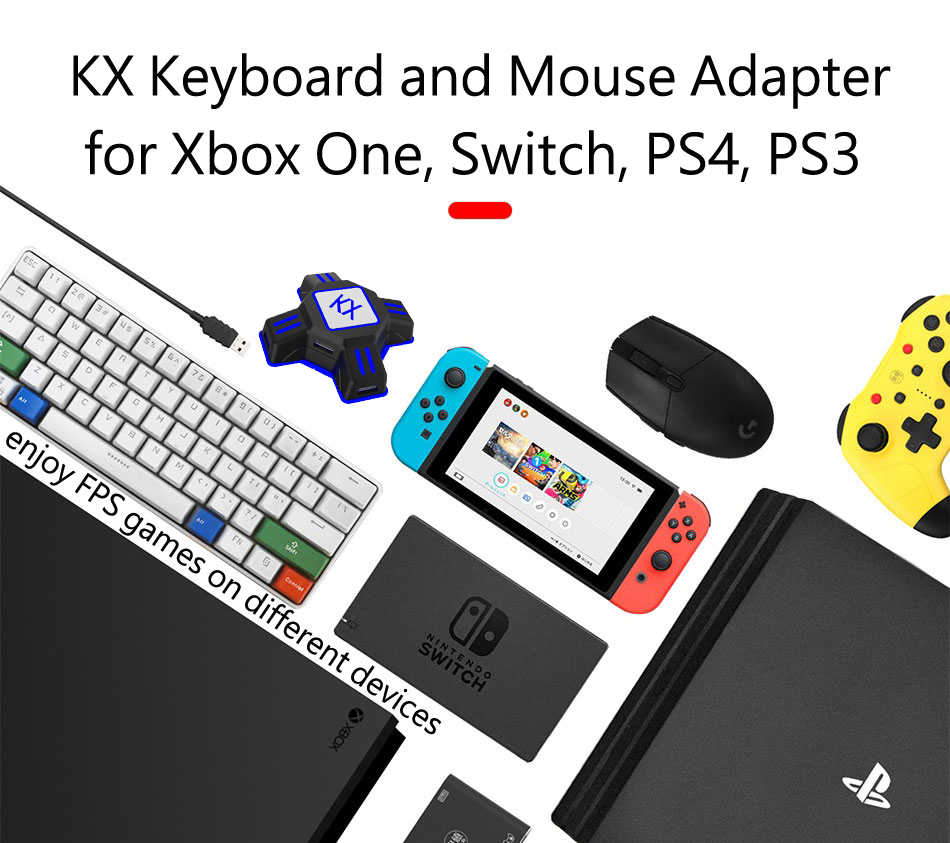 Gamepad Controller Adapter Keyboard Mouse Converter Support All Major Mainstream Handles Keyboard Mouse for PS4 Xbox One Switch