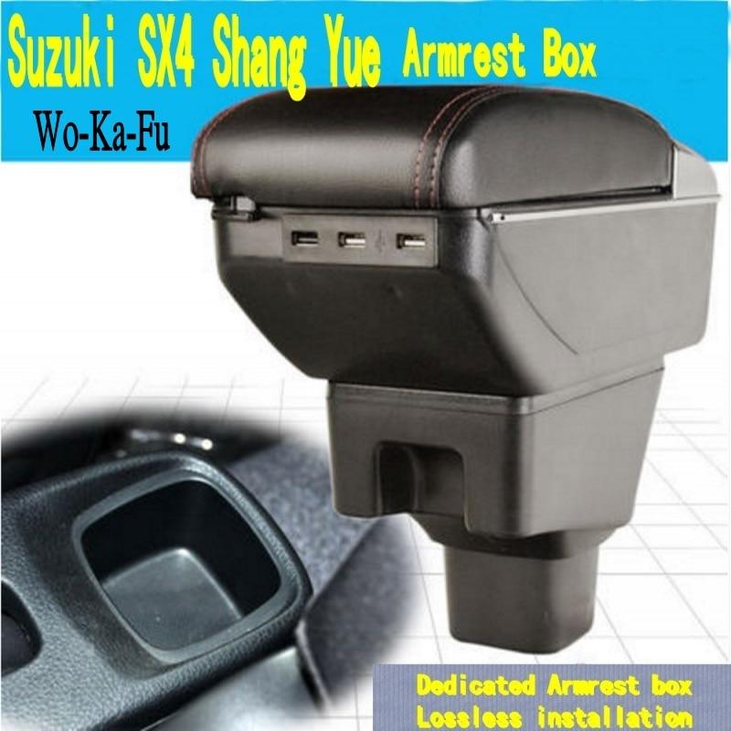 Para SX4 caixa apoio de braço central caixa Armazenar conteúdo com suporte de copo cinzeiro decoração produtos acessórios para carros Com interface USB
