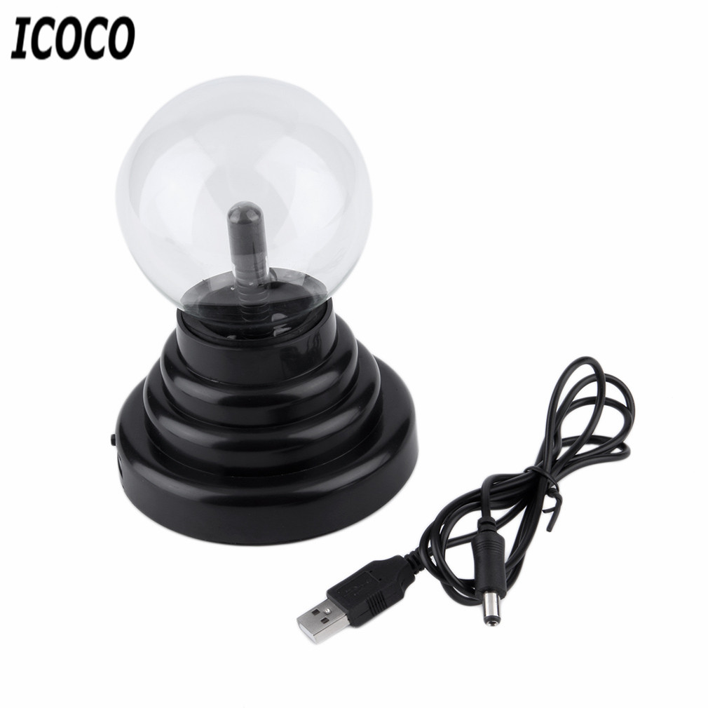 3 Inch USB Plasma Ball Electrostatic Sphere Light Magic Crystal Lamp Ball Touch Sensitive Transparent Desktop Lights in Novelty Lighting from Lights Lighting