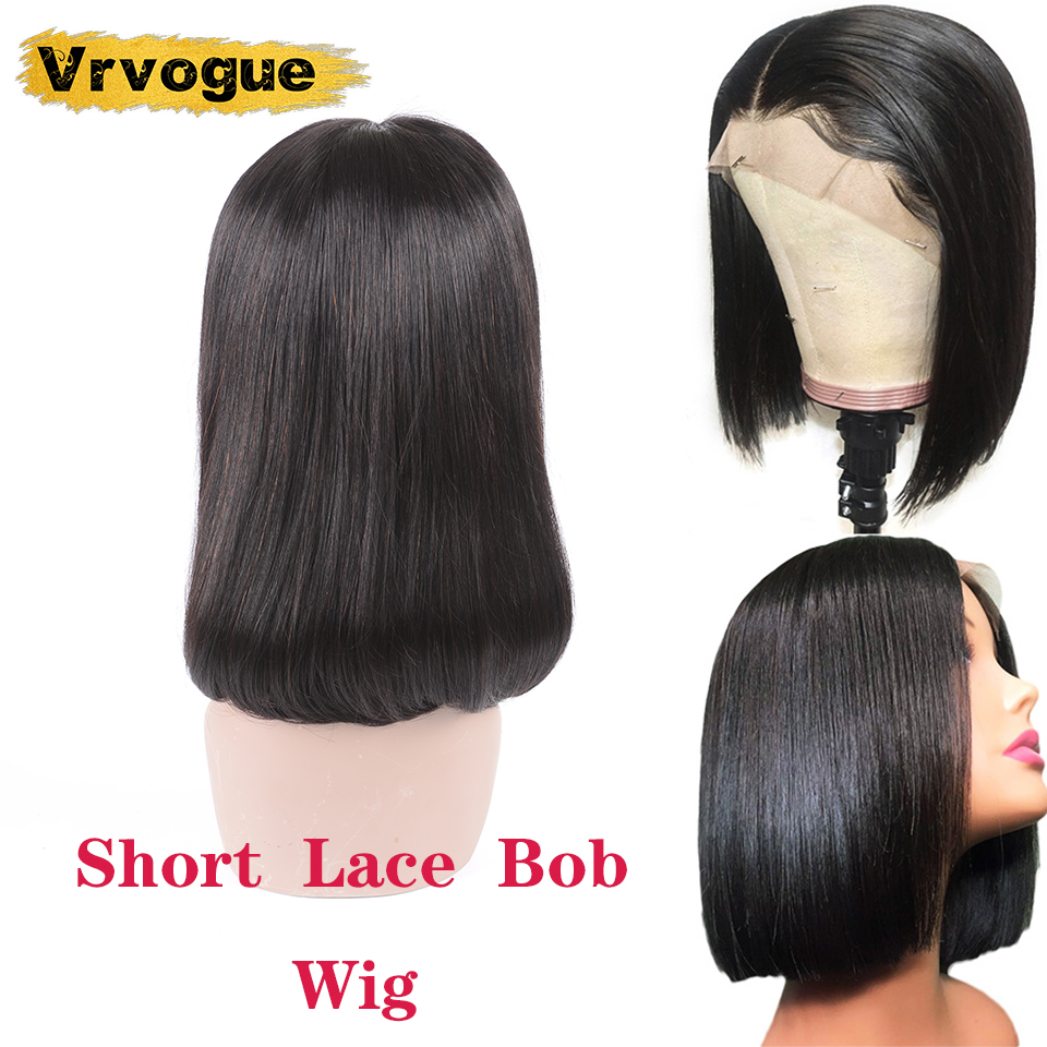 Vrvogue Hair Brazilian Short Human Hair Wigs Lace With Preplucked Hairline Natural Colour Remy Human Hair