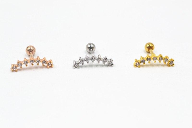Lot 36pcs Body Jewelry Shine CZ Gems Ear Studs Earring Stainless Steel Helix Bar Upper Earring