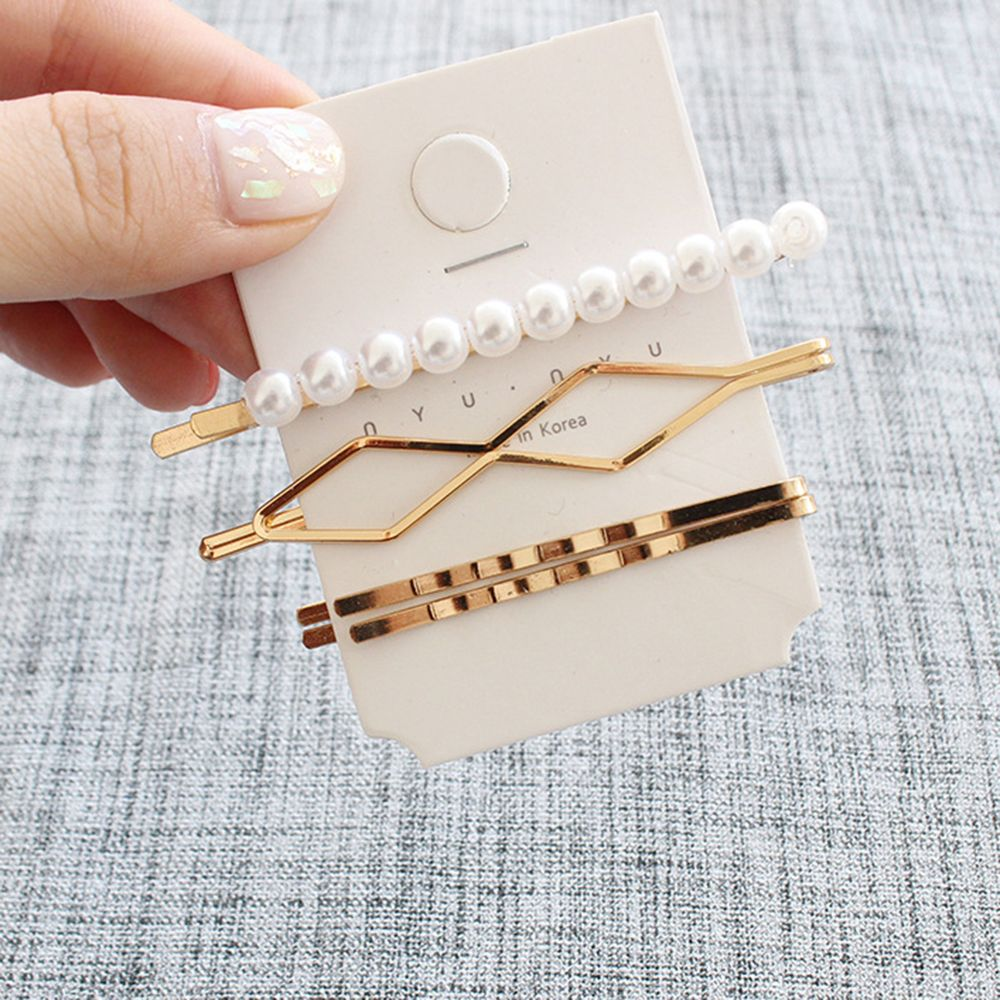 3Pcs/Set Pearl Metal Hair Clip Hairband Comb Bobby Pin Barrette Hairpin Headdress Accessories Beauty Styling Tools