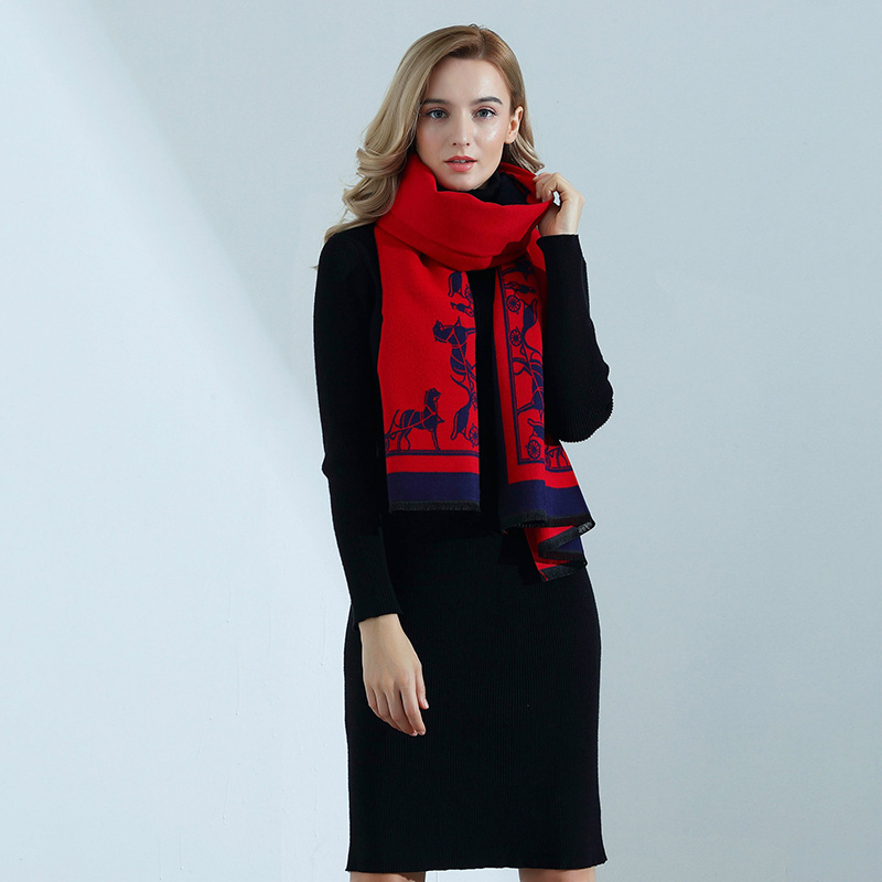 Cashmere Scarf High-quality Ladies Autumn Winter Fashion Carriage Print Thick Long Cashmere Scarf Shawl Women Wraps