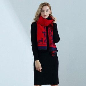 Image 1 - Kaşmir eşarp yüksek kaliteli bayanlar sonbahar kış moda arabası baskı kalın uzun kaşmir eşarp şal kadın sarar
