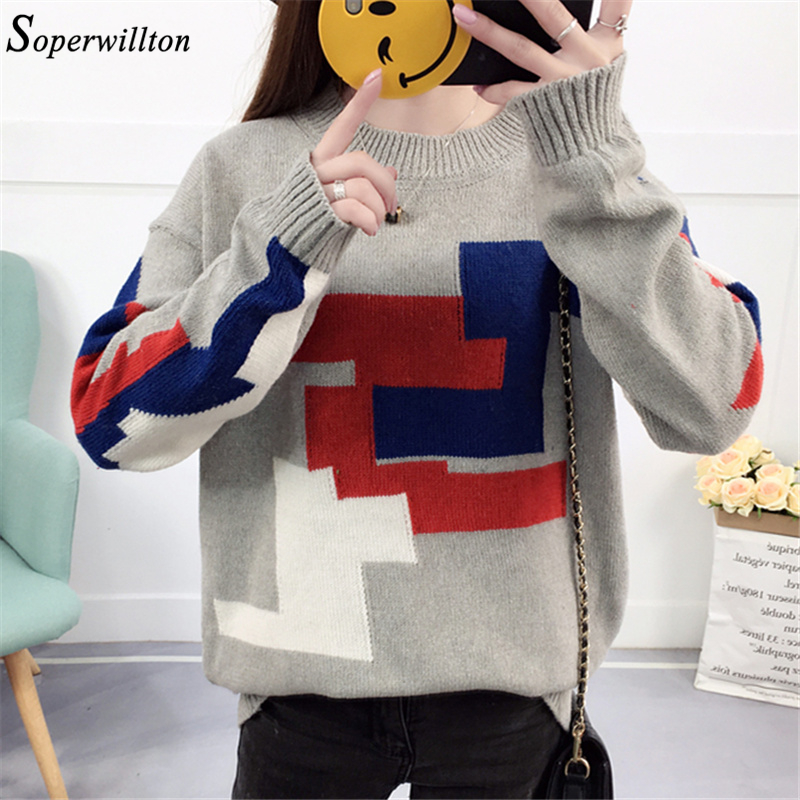 Winter kawaii knitted Women Sweaters Pullover Christmas contrast color female jumper Casual 2018 ladies korean sweater #Y18