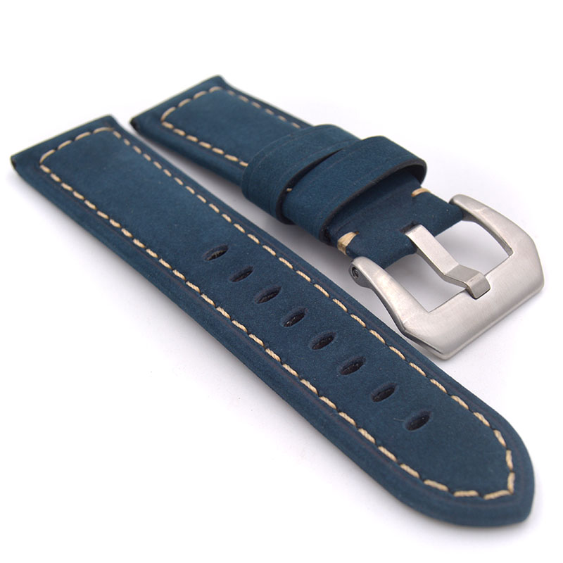 New 22mm 24mm Handmade Italian Retro Brown Green Yellow Blue Watch Band Genuine Leather Vintage Strap for PAM for panerai lukeni 24mm camo gray green blue yellow silicone rubber strap for panerai pam pam111 watchband bracelet can with or without logo
