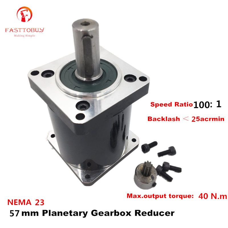 Input Speed 3000rpm High Precision Planetary Gearbox Ratio: 100:1 Planetary Reducer for NEMA23 57mm Servo/Stepper Motor 57XG-100
