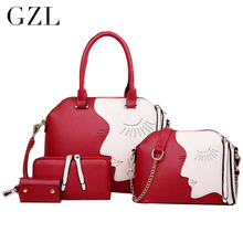 GZL 4 bolsos/de Las Mujeres de LA PU Bolso de las mujeres bolsa de Personajes de la Moda de Impresión hombro bolso de Mano de Señora Crossbody HB0010