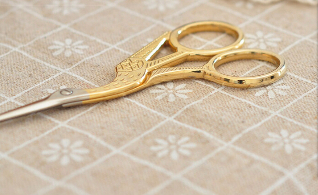 Top Quality (Golden/Silver) Vintage Scissors Heron Shaped Utility Knife Scissors For DIY Home & Office & School Cutting Supplies