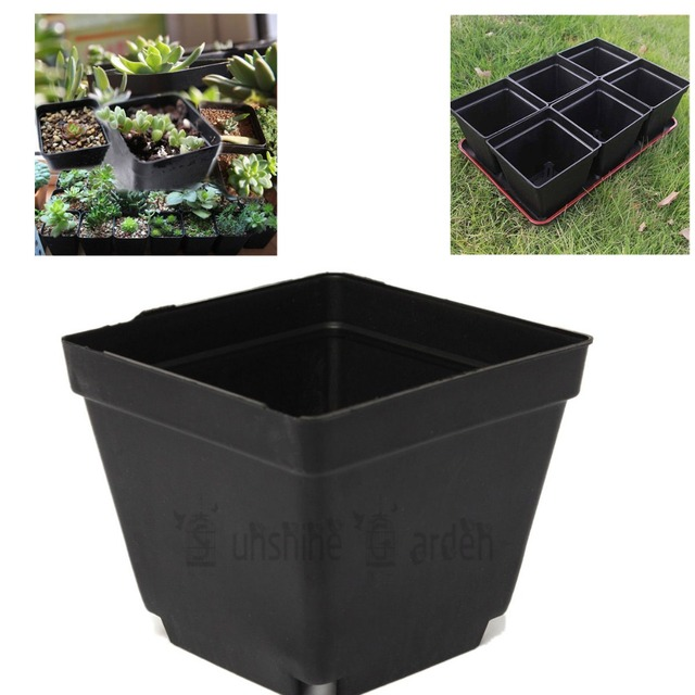 3 5 Inch Square Black Plastic Nursery Pots Seedlings Plants Container Good Quality Planting Succulents