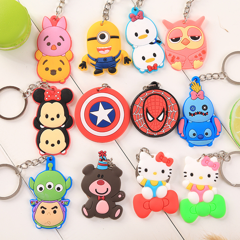 Wholesale Cute Keychain Rubber Key Chain PVC Cartoon Key Ring Creative Couple Key Bag Pendant Gift For Women Children Student(China)