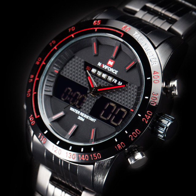 NAVIFORCE Casual Watch Men Sport LED Digital Watch waterproof Quartz Watches men luxury brand steel band relogio masculino clock