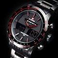 Naviforce reloj ocasional de los hombres del deporte led digital de banda de acero reloj de cuarzo resistente al agua relojes hombres marca de lujo relogio masculino reloj