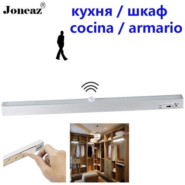 Led motion sensor kitchen closet cabinet light with battery operated lamp 20 leds Aluminum shell easy installation Joneaz
