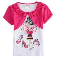 2 6T Brand Girl T Shirt Rose Red White Kids T Shirt Children T Shirts T