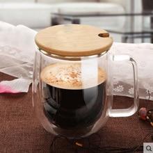 250 ml de Alta Calidad de doble pared taza de té tazas de café con mango de la tapa