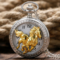 Китайский Стиль Зодиака Серебряный Стимпанк Кроссовки Золотой Конь Карманные Часы Мужчины Женщины Ожерелье Цепь Модный Подарок