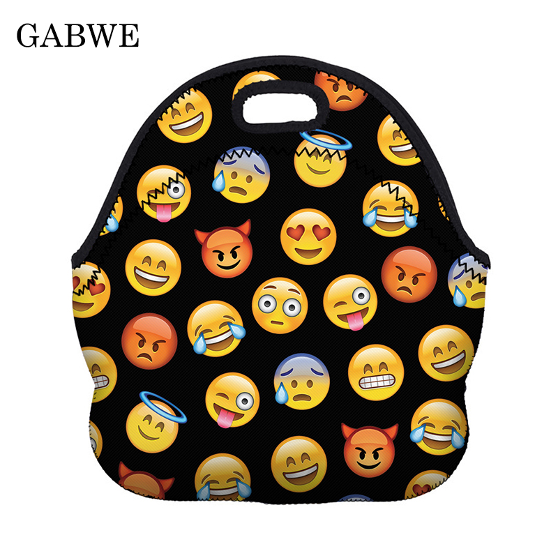 Functional Bags Luggage & Bags Gabwe Expression Pattern Print Thermal Insulated Lunch Bags For Kid Snevera Termica Food Bag Almacenamiento Comida Almuerzo Products Hot Sale