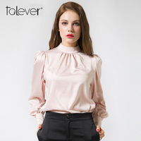 Talever Elegant Office Women Blouse O Neck Women Tops Shirt Blouse Female Pink OL Wear Long
