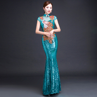 2019 new chinese oriental women long lace red traditional wedding qipao dresses cheongsam embroidered designer plus size