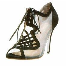 Newest Fashion Mesh Women's Stiletto Heel Sandals Shoes Black Platform Pumps