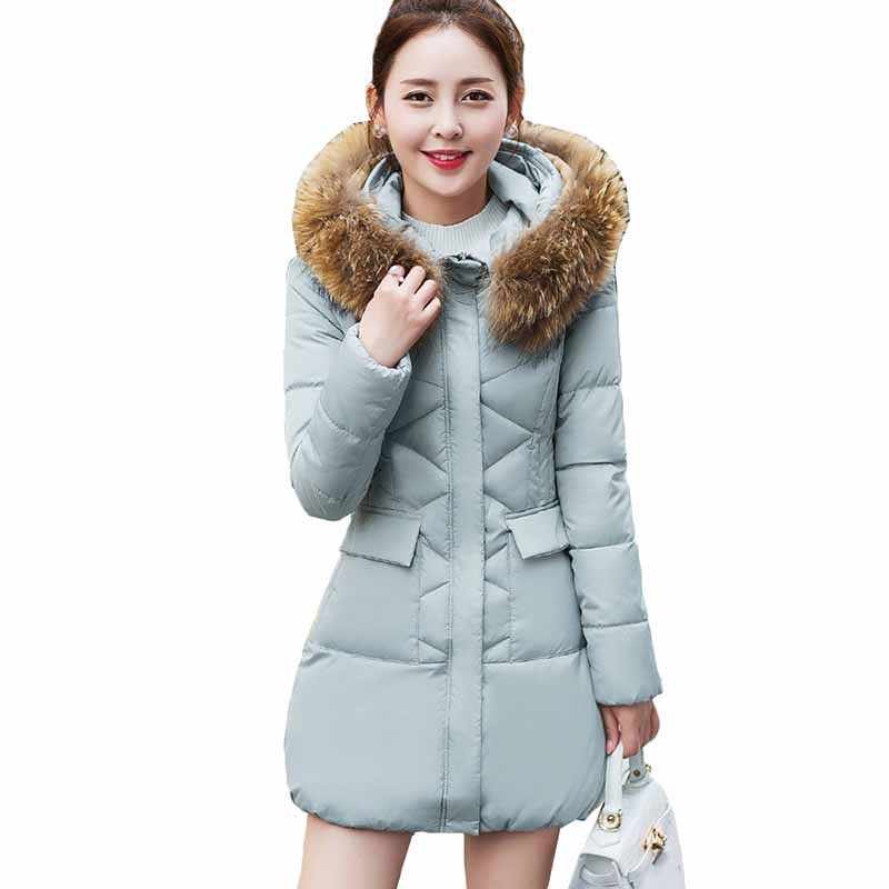 Winter Jacket Women 2018 New Fashion Fur Collar Hooded Outerwear Winter Women   Parka   Long Thick Slim Down Cotton Jacket Coat Z2