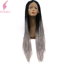 Wig Braided Yiyaobess Purple Synthetic-Hair Lace-Front Black Long Two-Tone Ombre Women