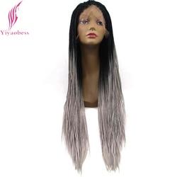 Yiaobess-perruque longue pour femme, Micro tresse Lace Front Wig synthétique, sans colle, deux tons, noire, grise, bleue, rouge, violette, Ombre, pour femmes