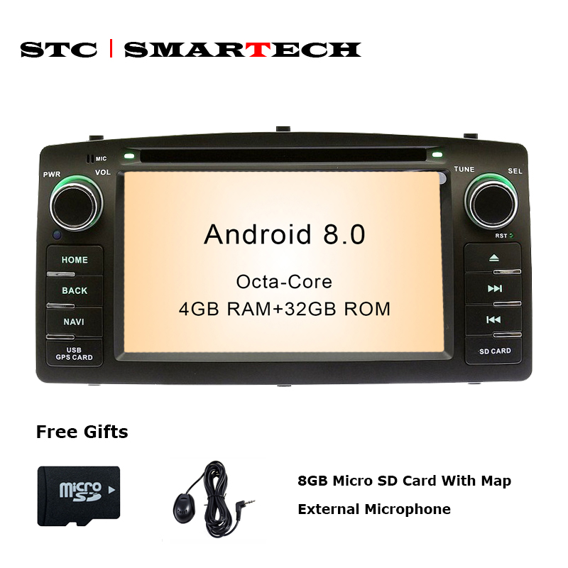 SMARTECH 2 Din Android 8.0 Lecteur DVD de voiture de navigation GPS Autoradio Pour Toyota Corolla E120 BYD F3 Octa Core 4 gb RAM 32 gb ROM