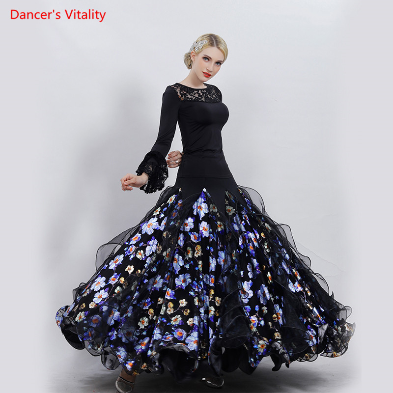 Adult Ballroom Dance Costumes Tops Print Big Swing Skirts 2pcs Set For Women Latin Ballroom Waltz