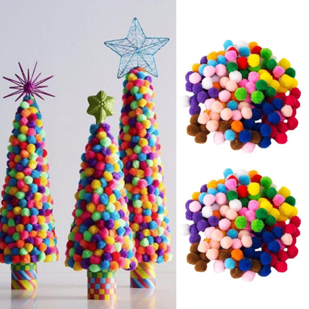 Dongzhur 2000 Pcs 8mm DIY Children's Craft Toys Mixed Color Soft Round Shaped Pompom Balls Fluffy Pom Poms For Kids Crafts Toys