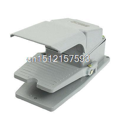 AC 380V 5A NO NC Antislip Momentary CNC Power Treadle Foot Pedal Switch w Guard gray nonslip treadle momentary power foot pedal switch ac 250v 10a spdt no nc