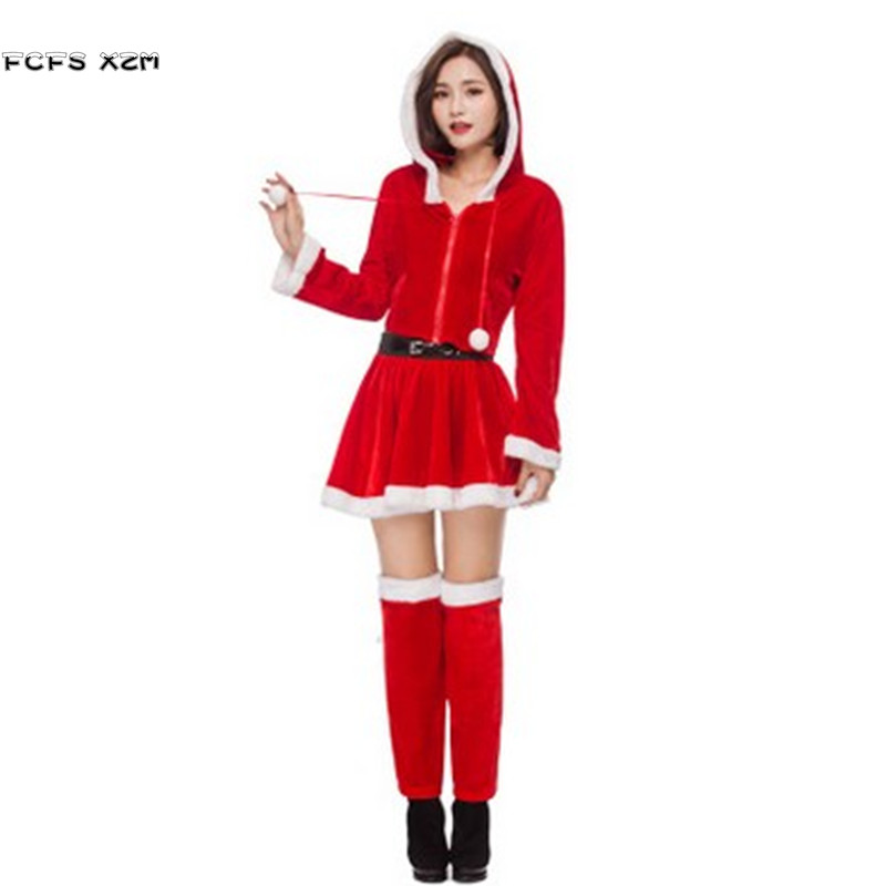 New Red Women Halloween Santa Claus Costumes Female Christmas Party Cosplay adult Winter pajamas Carnival Purim Masquerade dress