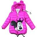 Продажи 2-7Yrs Новорожденных Девочек Куртки Минни пальто Детская одежда вниз хлопок девушки зимнее пальто куртка с капюшоном для девочек