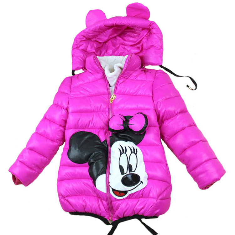 Sale 2 7Yrs Baby Girls Jacket Minnie coat Children clothes down cotton girls winter coat hooded