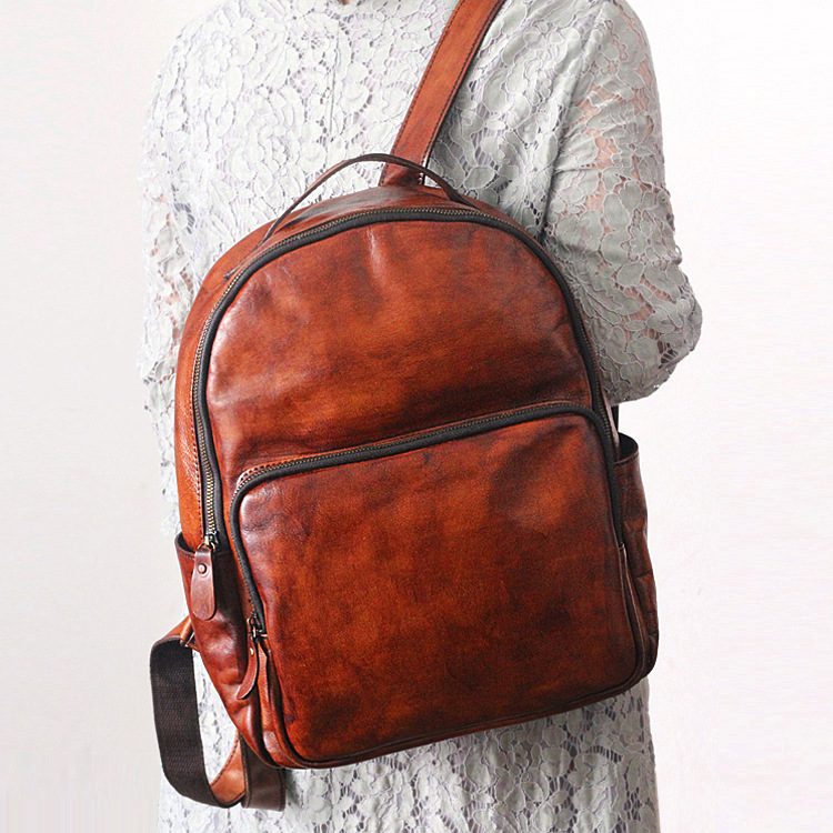 Genuine leather brown leather school girl backpack Vintage hand-rub old cow leather cowhide unisex men/women backpackGenuine leather brown leather school girl backpack Vintage hand-rub old cow leather cowhide unisex men/women backpack
