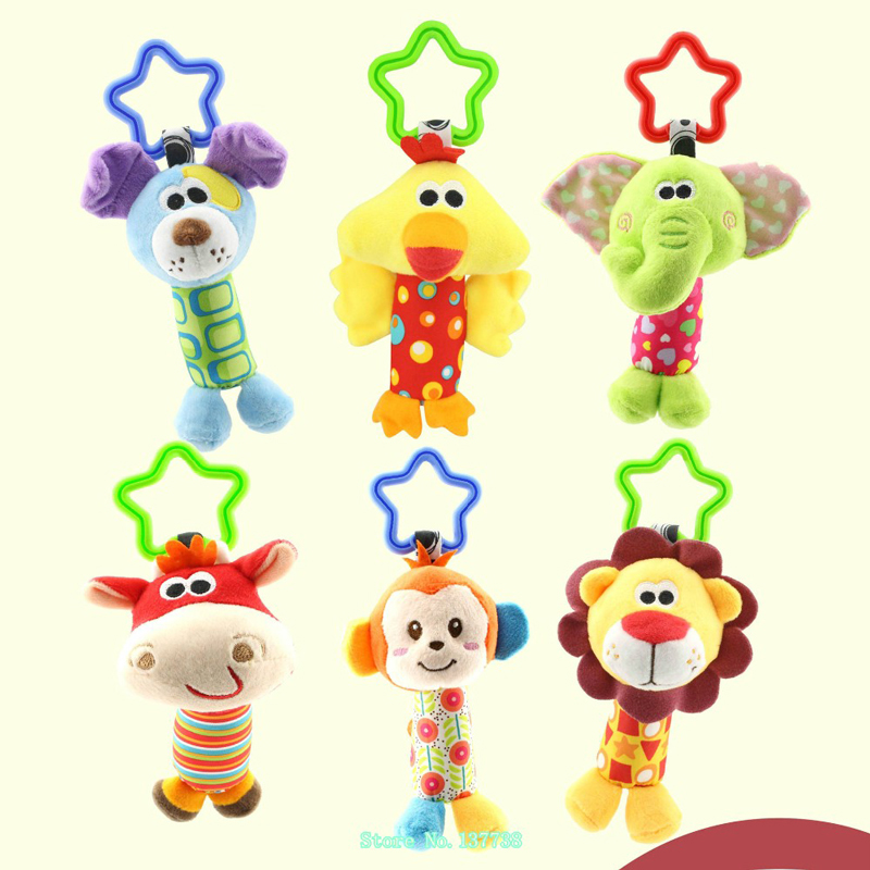 1PCS 6 typer djur Babyleksaker Rattle Tinkle Hand Bell Plush Leksaker Colorful Animal Hanging Bed barnvagn leksak