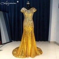 E51 Shiny Mermaid V Neck Long Sleeve Beads Crystal Rhinestone Long Engagement Prom Red Evening Dress